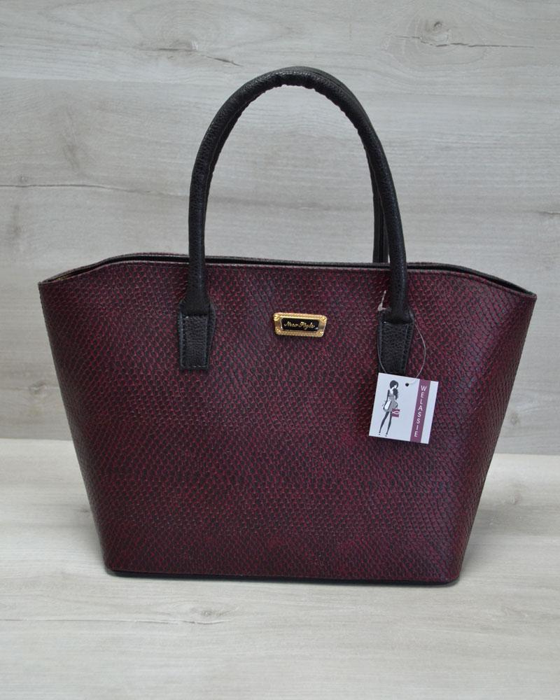 Классическая женская сумка «Две змейки» бордовая змея, ручки черные