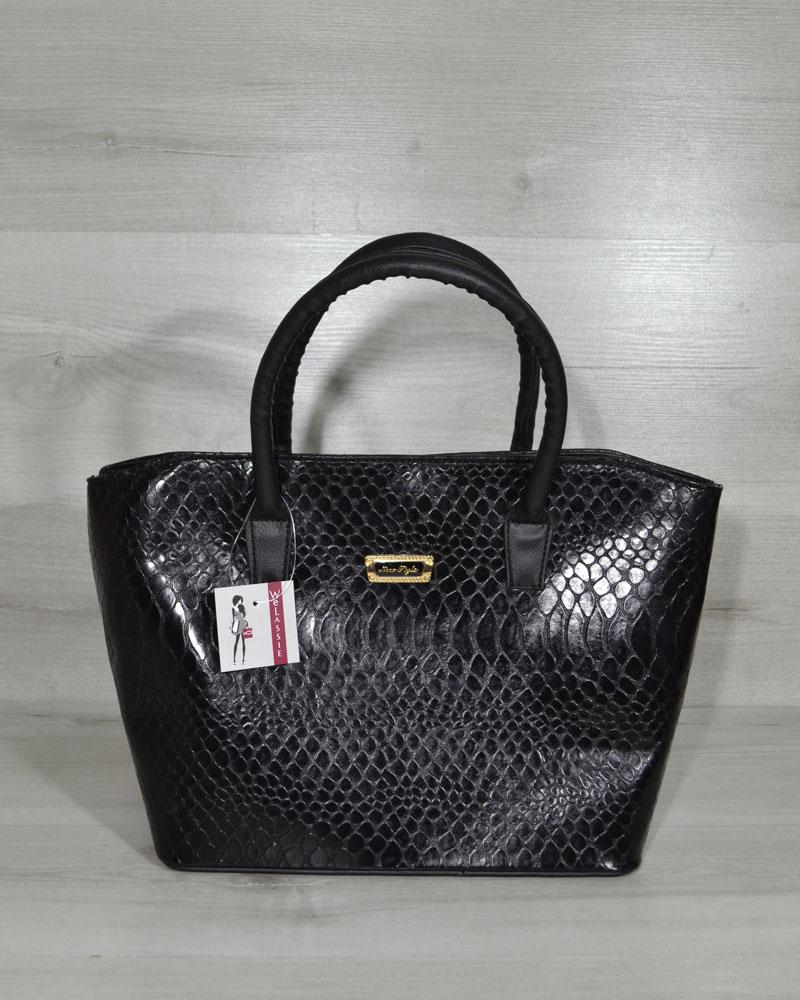 Классическая женская сумка «Две змейки» черная кобра