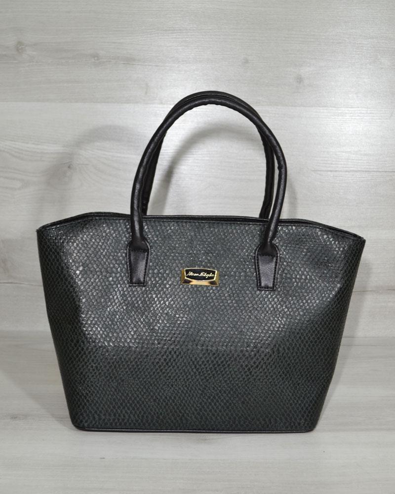 Классическая женская сумка «Две змейки» зеленая змея с черными ручками