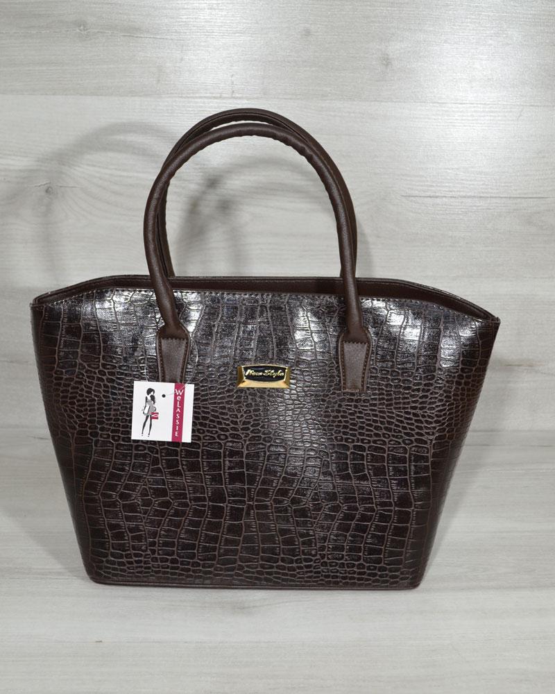 Классическая женская сумка «Две змейки» коричневый крокодил