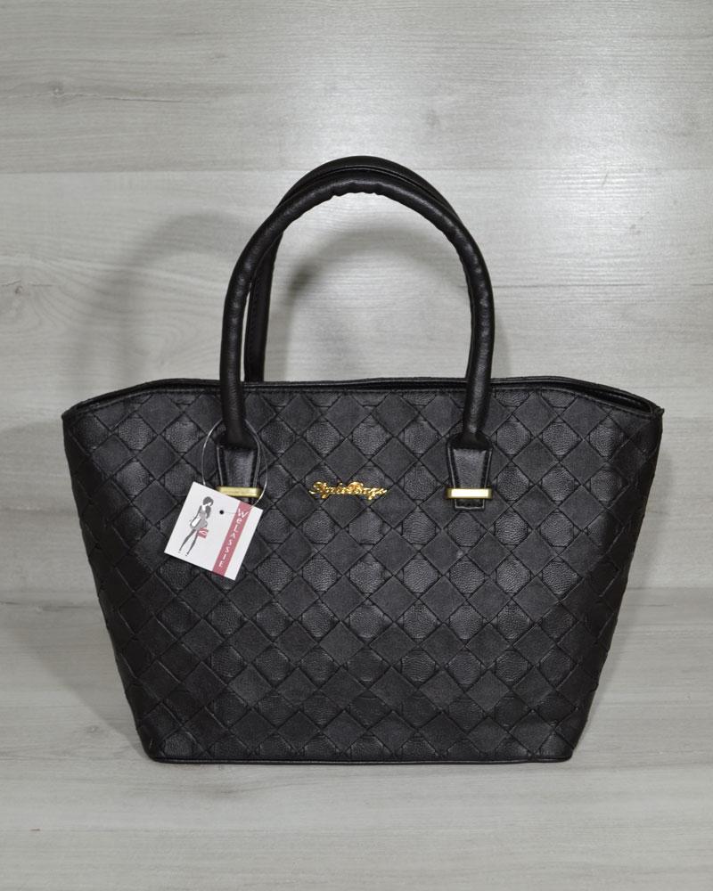 """Классическая женская сумка «Две змейки """" черные кубики"""