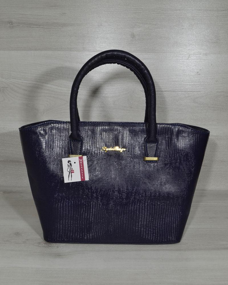 """Классическая женская сумка «Две змейки """" синяя рептилия лаковая"""