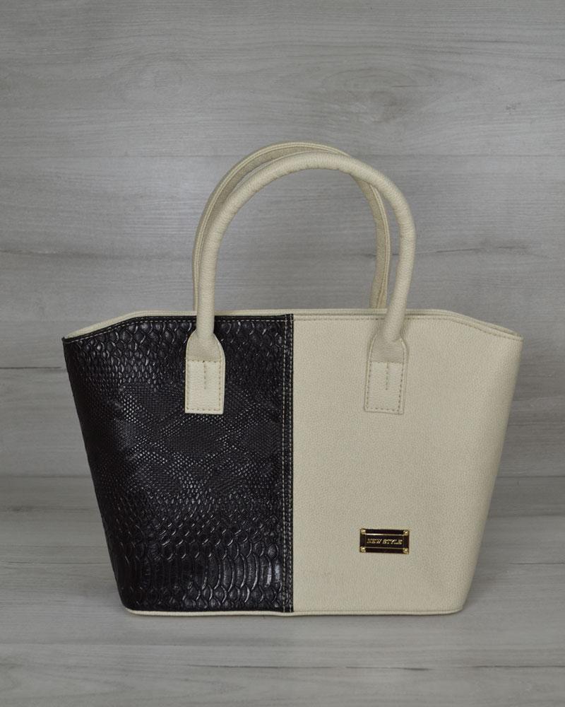 """Классическая женская сумка «Две змейки """" молочная с вставкой черная рептилия"""