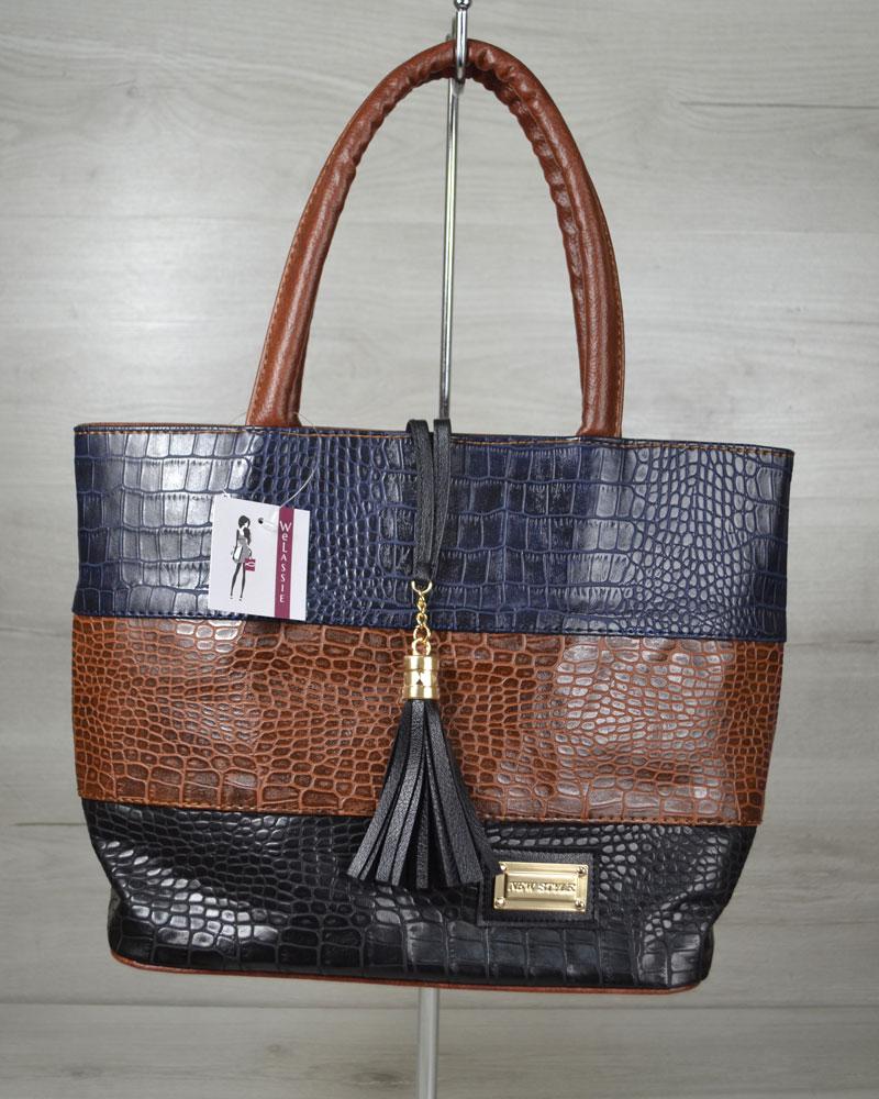 Комбинированная сумка Кисточка «Три крокодила»