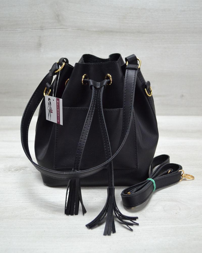 Молодежная сумка из эко-кожи  Люверс черного цвета