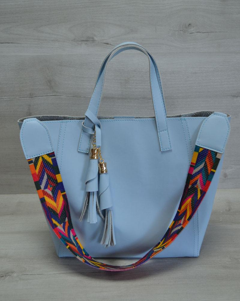 Женская сумка из эко-кожи два в одном голубого цвета