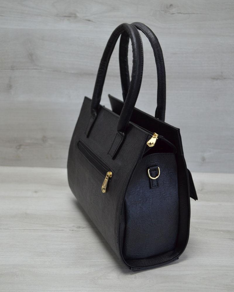 b00094e96a8d Каркасная женская сумка с накладным карманом лаковый черный оптом ...