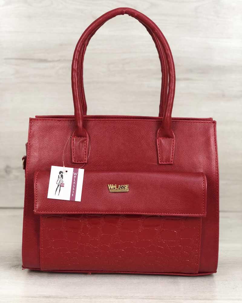 Каркасная женская сумка с  накладным карманом лаковый красный