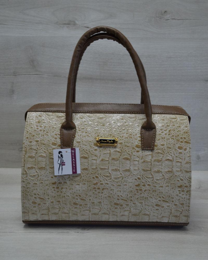 Каркасная женская сумка Саквояж кофейный крокодил с кофейными ручками