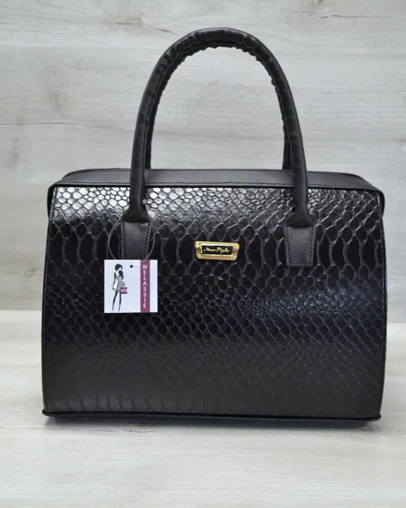 Каркасная женская сумка Саквояж черная кобра