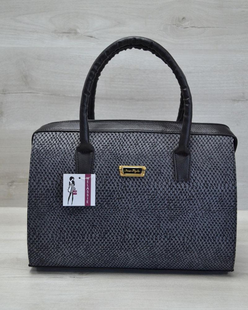 Каркасная женская сумка Саквояж серая змея с черными ручками