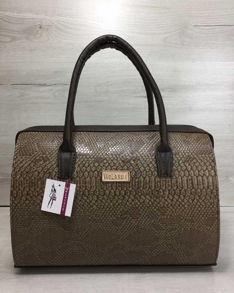 Каркасная женская сумка Саквояж кофейная рептилия с коричневыми ручками