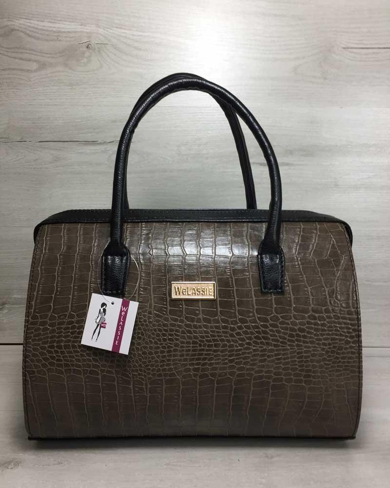 Каркасная женская сумка Саквояж кофейный крокодил с черными ручками