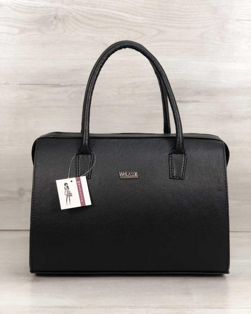 Каркасная женская сумка Саквояж черный матовый (никель)