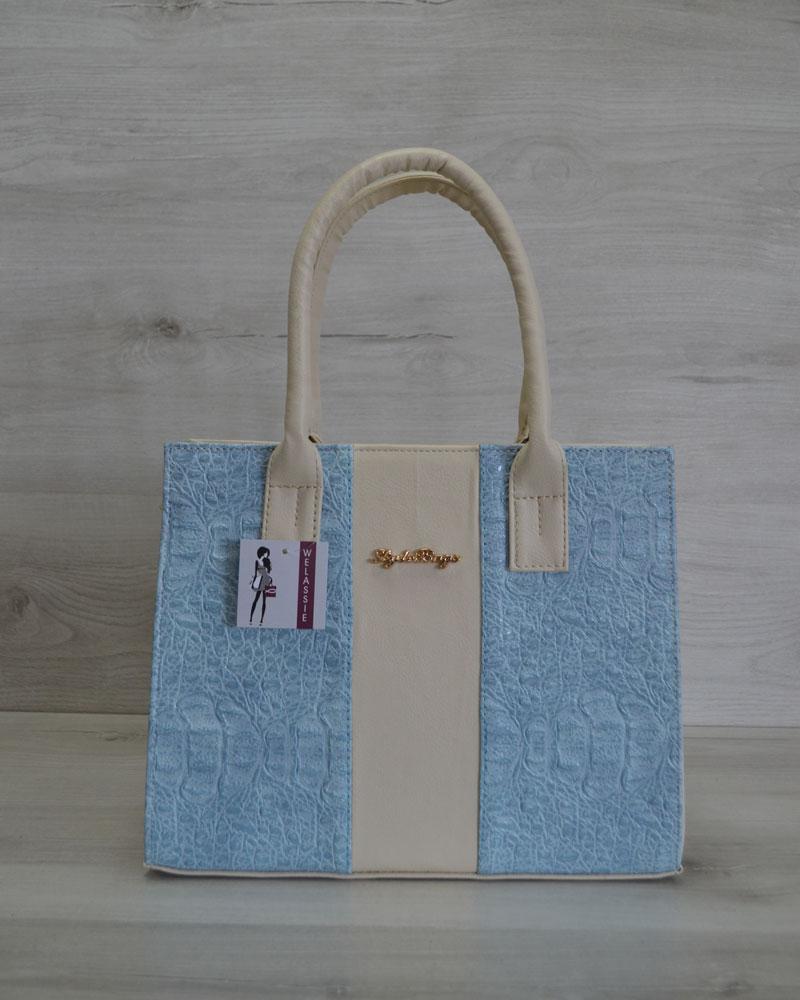 e0b9d2f5b254 Каркасная сумка Селин бежевого цвета с вставкой крокодил голубой ...