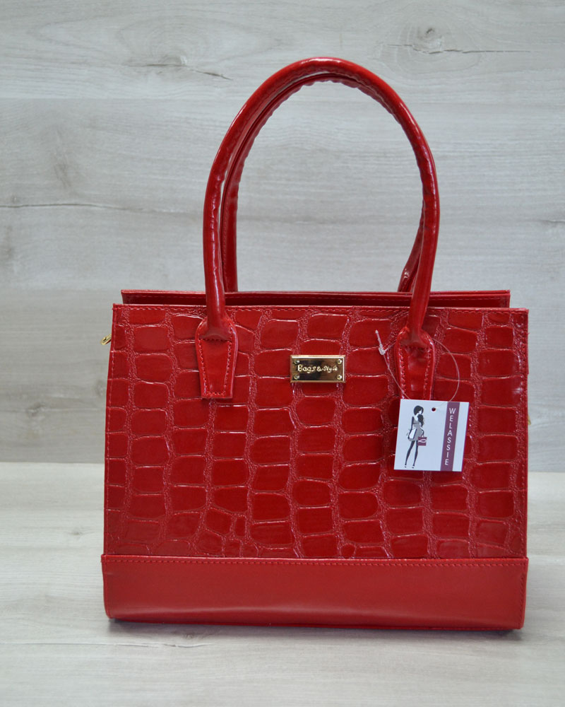 Каркасная женская сумка Селин красный лаковый крокодил
