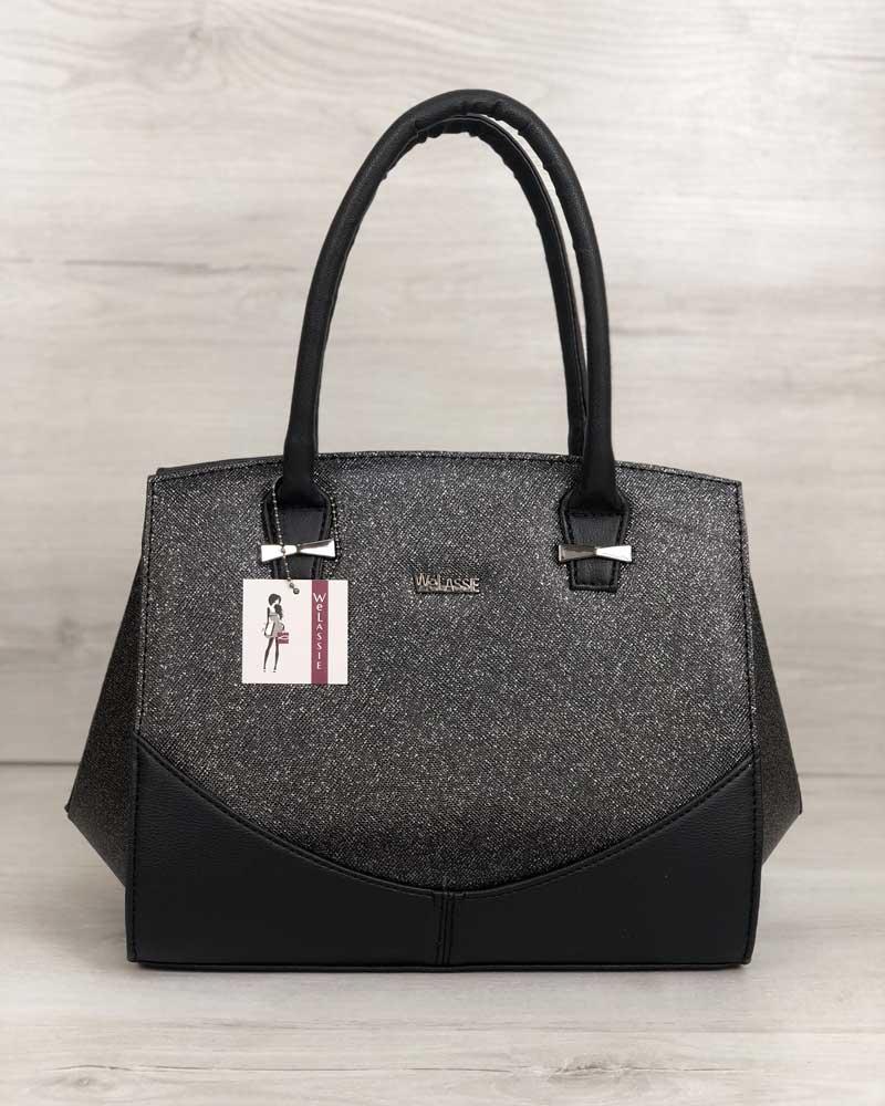 Каркасная женская сумка Виржини черного цвета со вставками черный блеск