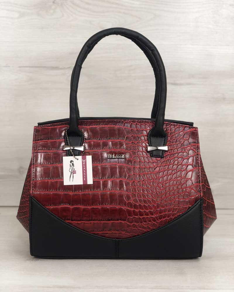Каркасная женская сумка Виржини черного цвета со вставками красный крокодил