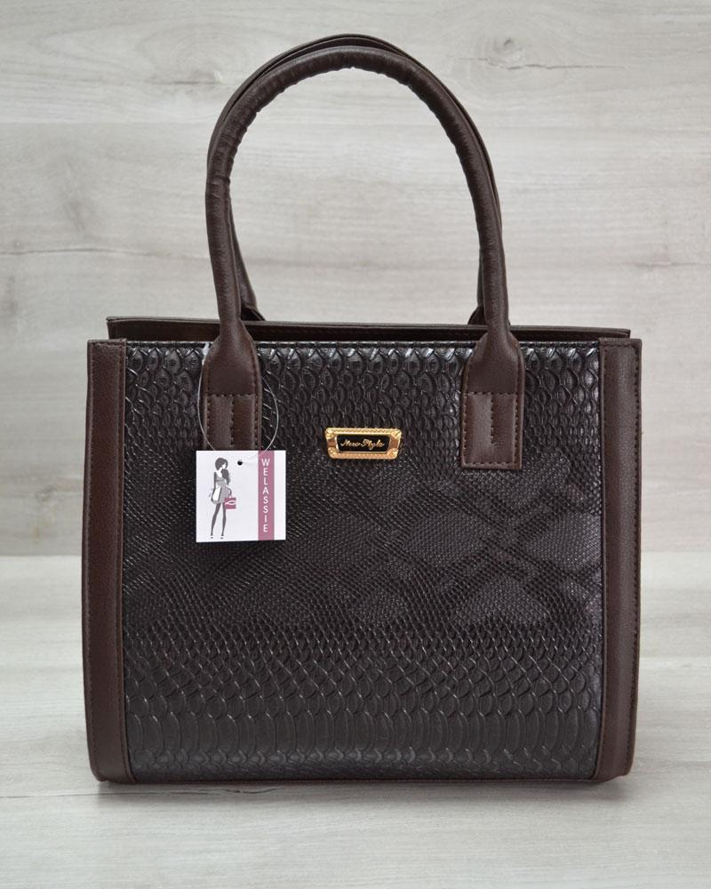 Женская сумка Бочонок коричневая рептилия с коричневым гладким