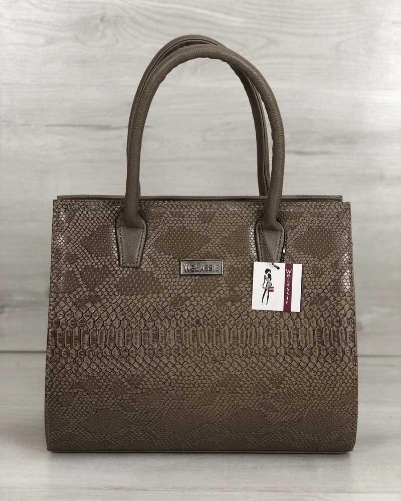 Женская сумка Бочонок кофейного цвета со вставкой кофейная рептилия (никель)
