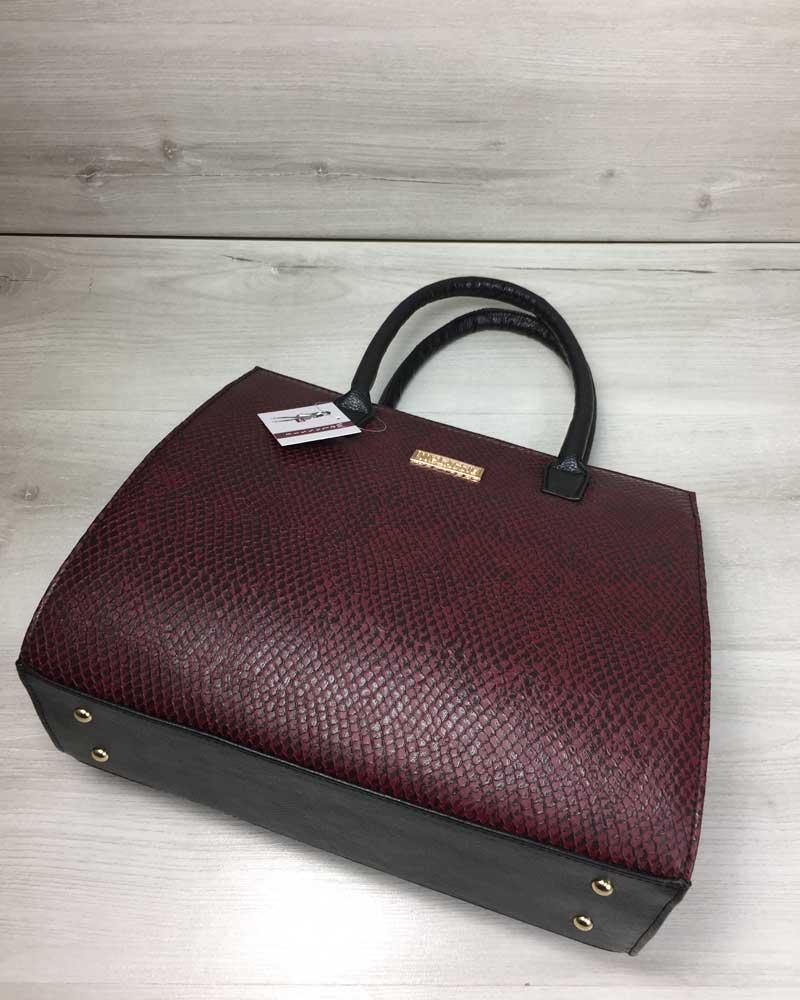 78243d42792d Женская сумка Бочонок черного цвета со вставкой бордовая змея оптом ...