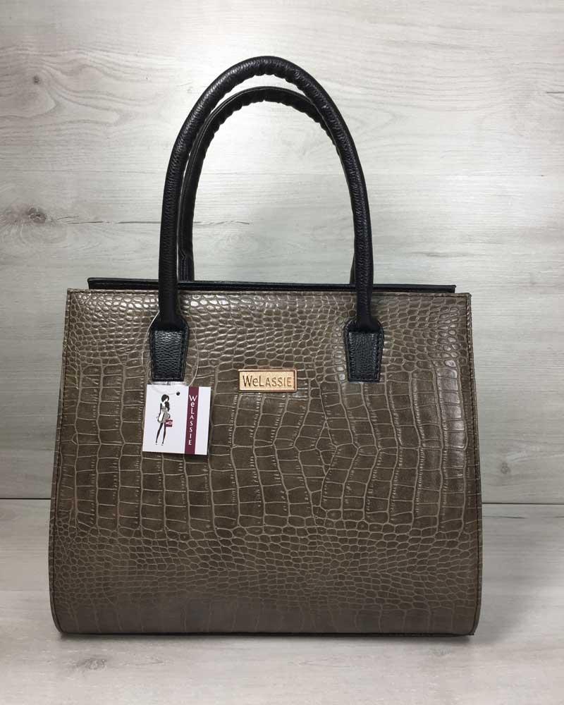 Женская сумка Бочонок черного цвета со вставкой кофейный крокодил