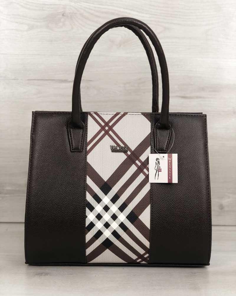 640c7a5a1aad Женская сумка Бочонок коричневого цвета со вставкой барбери оптом ...