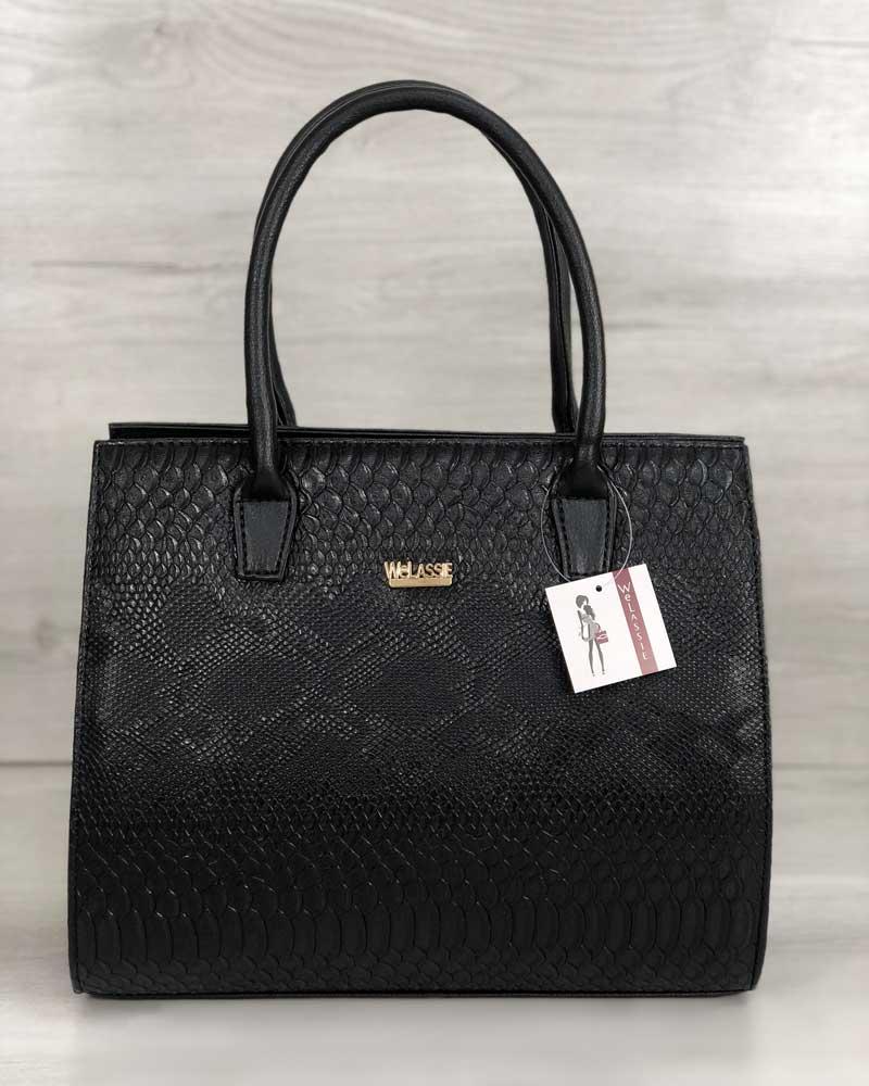 Женская сумка Бочонок черная рептилия