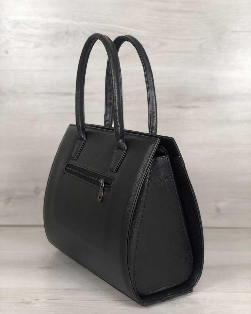 a7db023be962 Женская сумка Бочонок черного цвета со вставкой черный крокодил ...