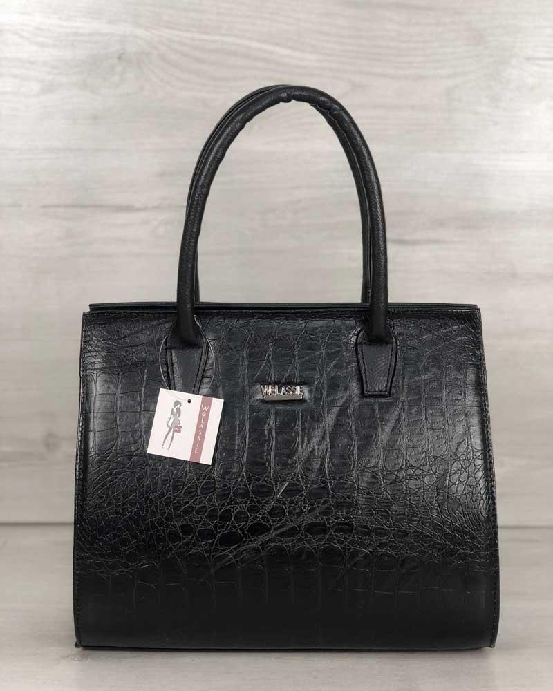 Женская сумка Бочонок черного цвета со вставкой черный крокодил