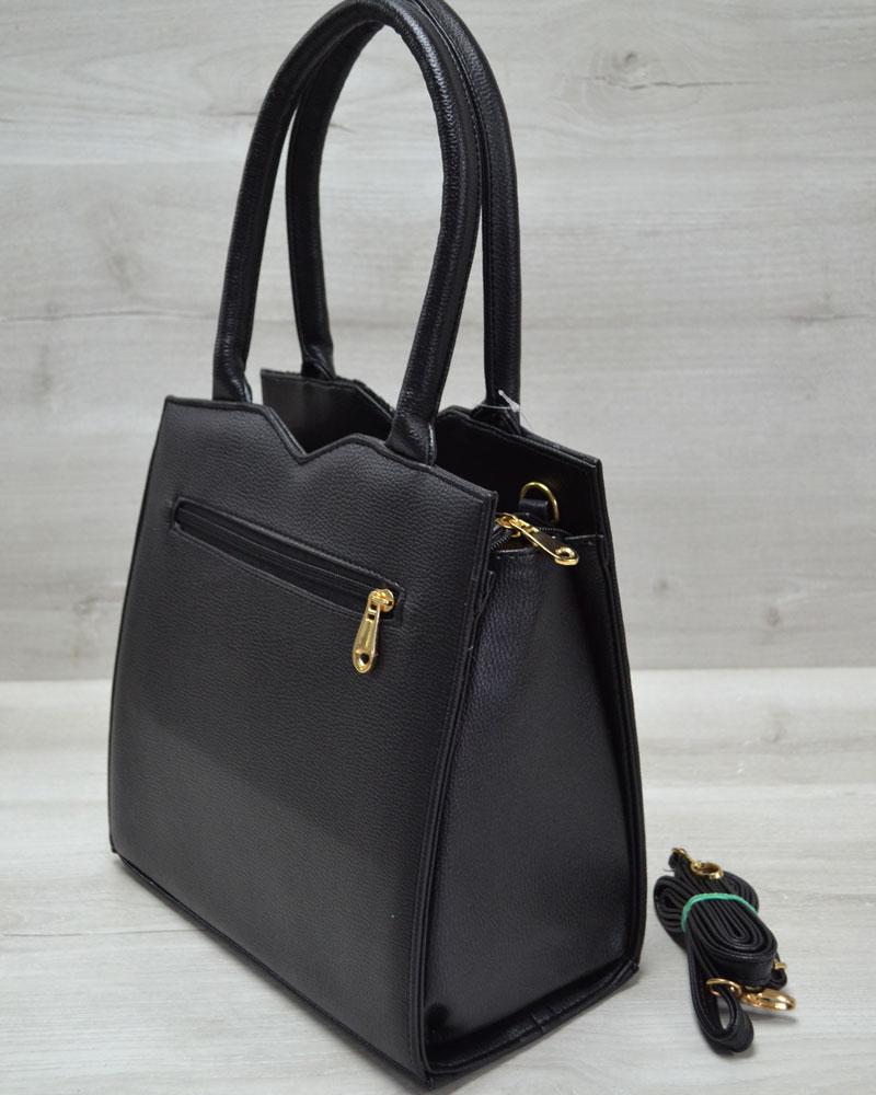 0714ea360dff Классическая женская сумка Треугольник черного цвета с черными блестками
