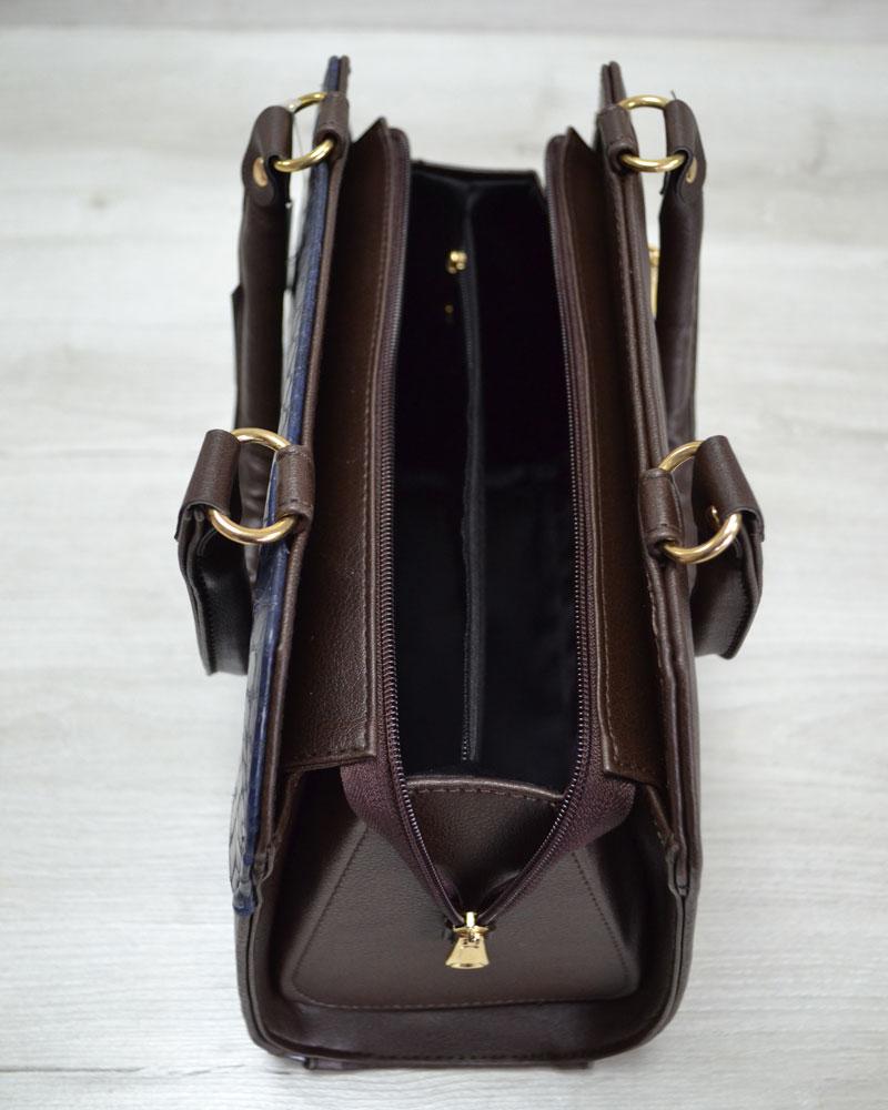 8d4e4b0d539a Женская сумка Конверт коричневая с синей коброй оптом арт.31804 ...