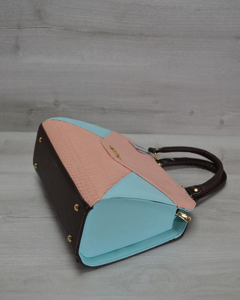 2bd41bdcb365 Женская сумка Конверт коричневая с пудрово-голубой вставкой оптом ...