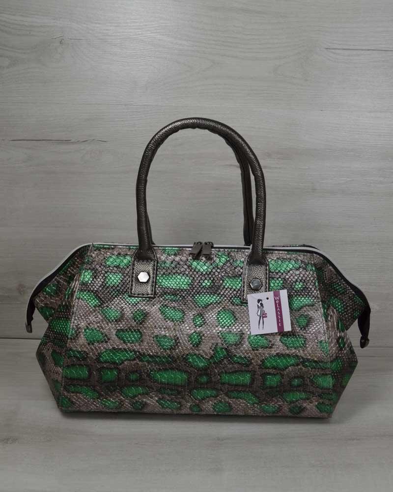Классическая женская сумка Оливия серая с зеленым змея