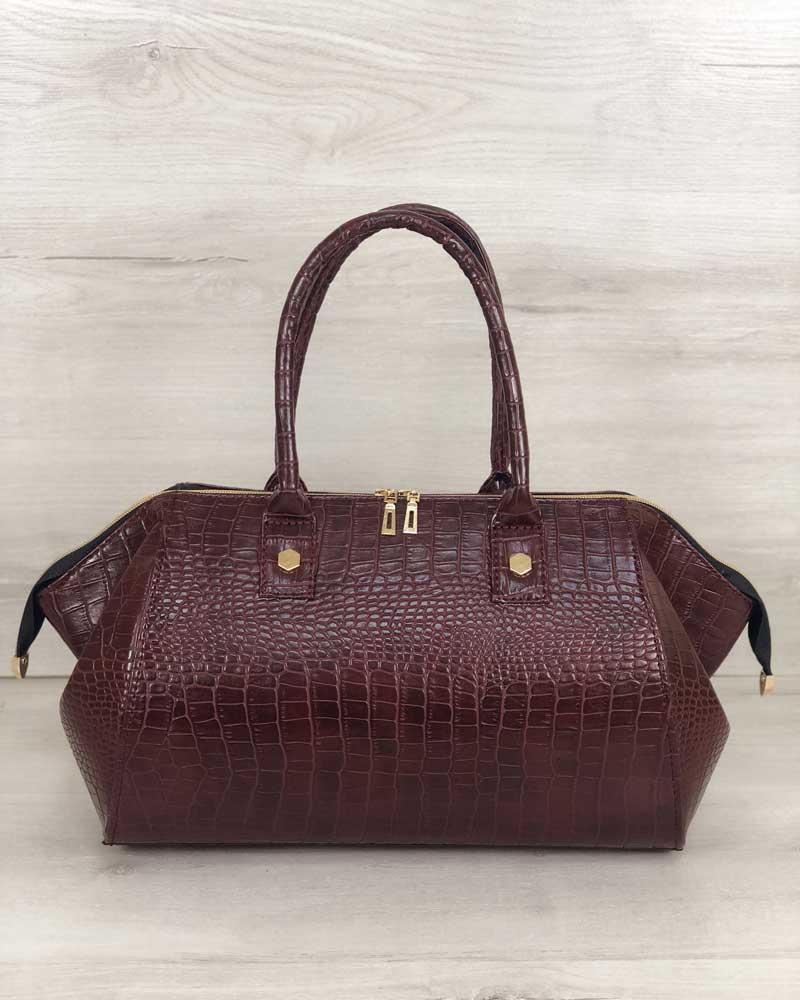 Классическая женская сумка Оливия бордовый крокодил