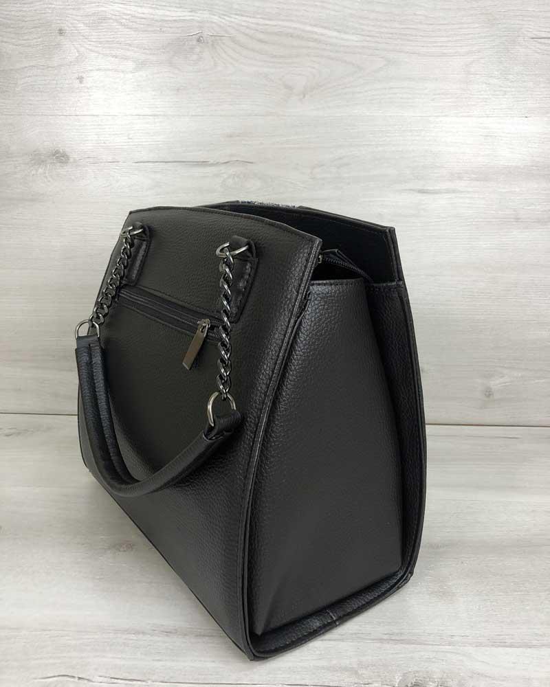 9bb8bd79af6d Каркасная женская сумка Адела черного цвета со вставкой блеск оптом ...