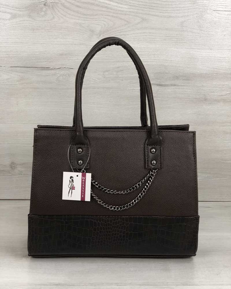 Каркасная женская сумка Селин с цепочкой шоколадного цвета