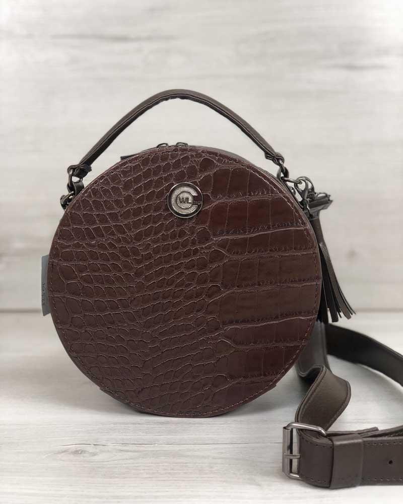 Стильная женская сумка Бриджит коричневого цвета со вставкой коричневый крокодил