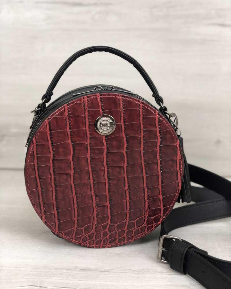 Стильная женская сумка Бриджит черного цвета со вставкой красный крокодил