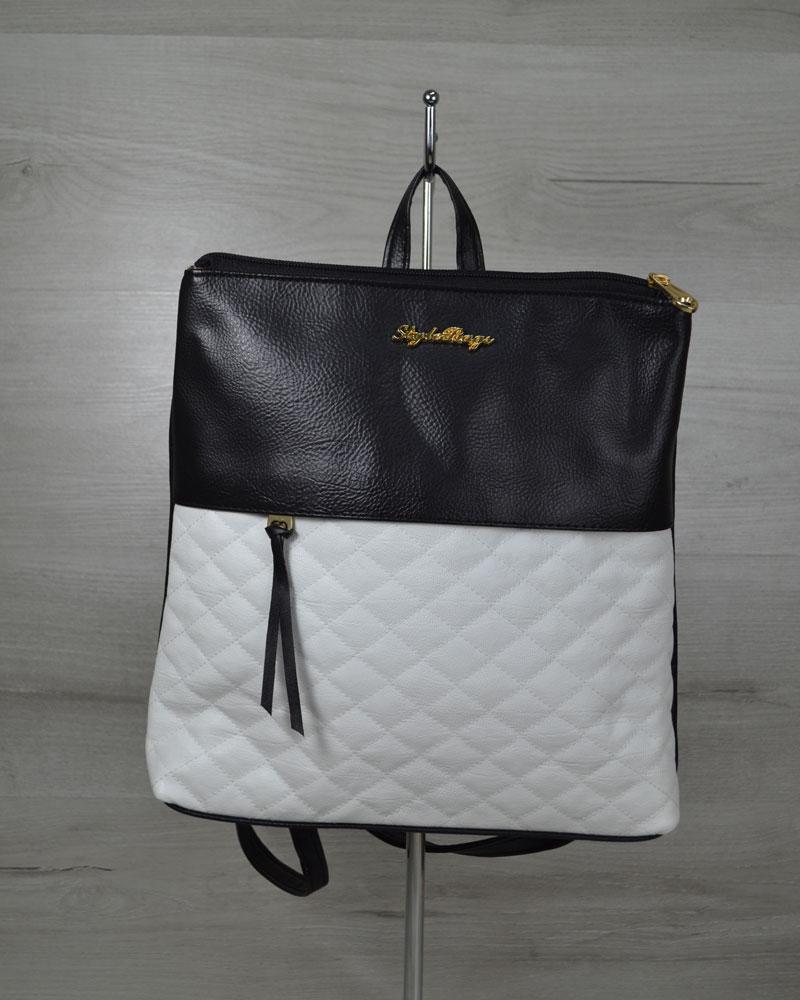 Молодежный рюкзак черного цвета с белыми кубиками
