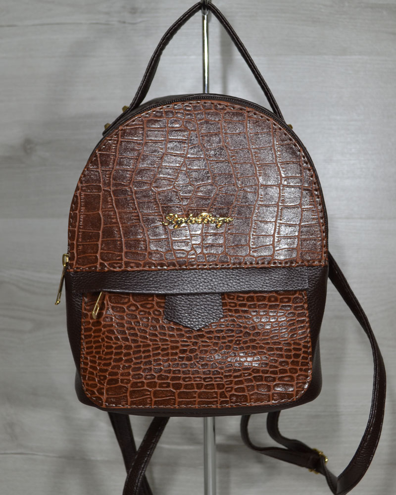 Рюкзак среднего размера коричневый с вставкой рыжий кродил