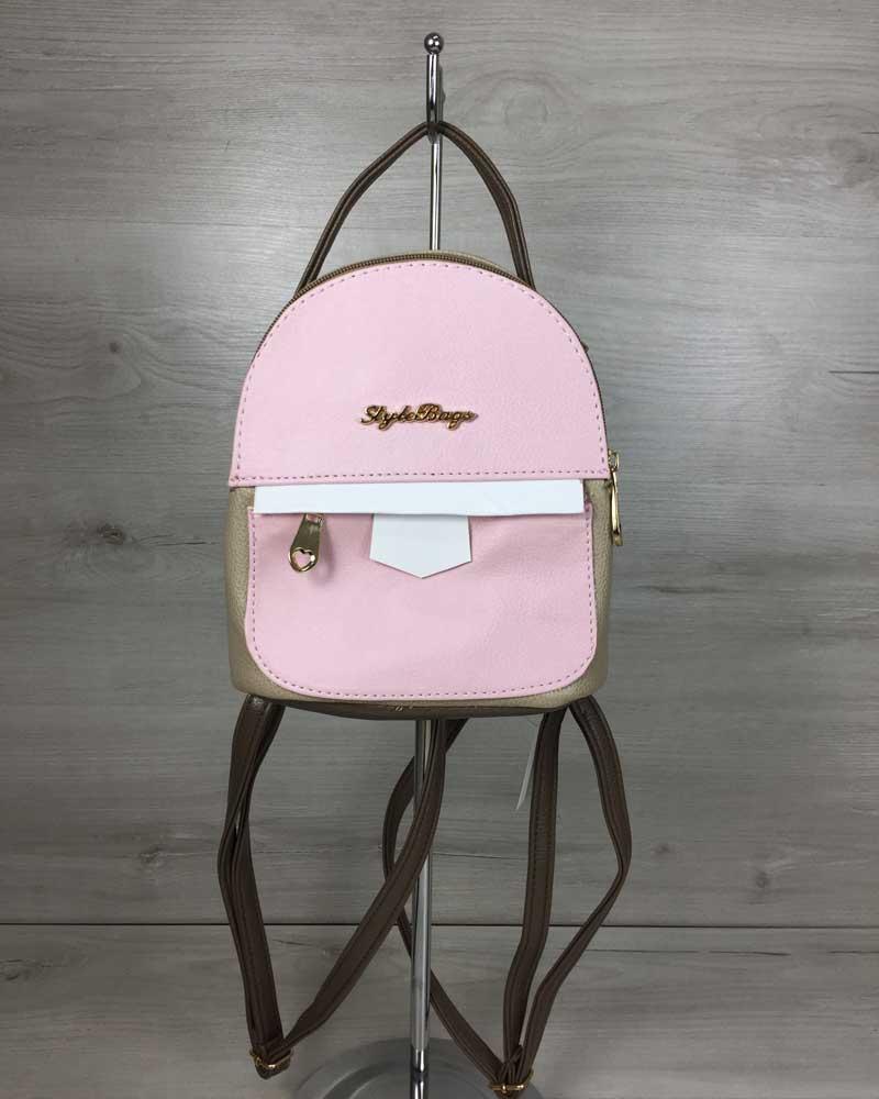 Сумка-рюкзак Маленький кофейного цвета с розовой вставкой