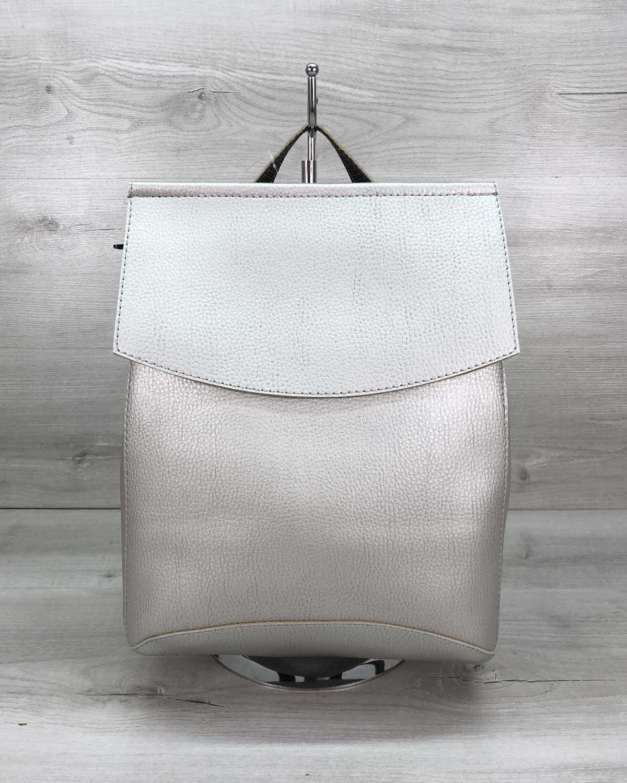 Молодежный сумка-рюкзак серебряного  цвета (никель)