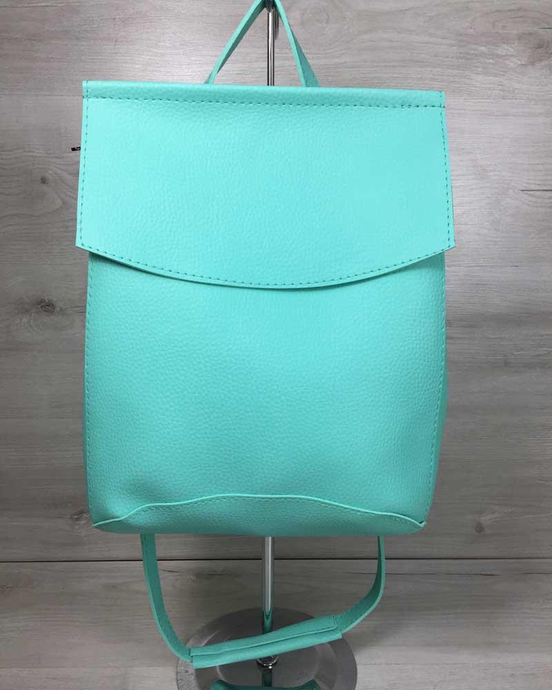 Молодежный сумка-рюкзак мятного  цвета