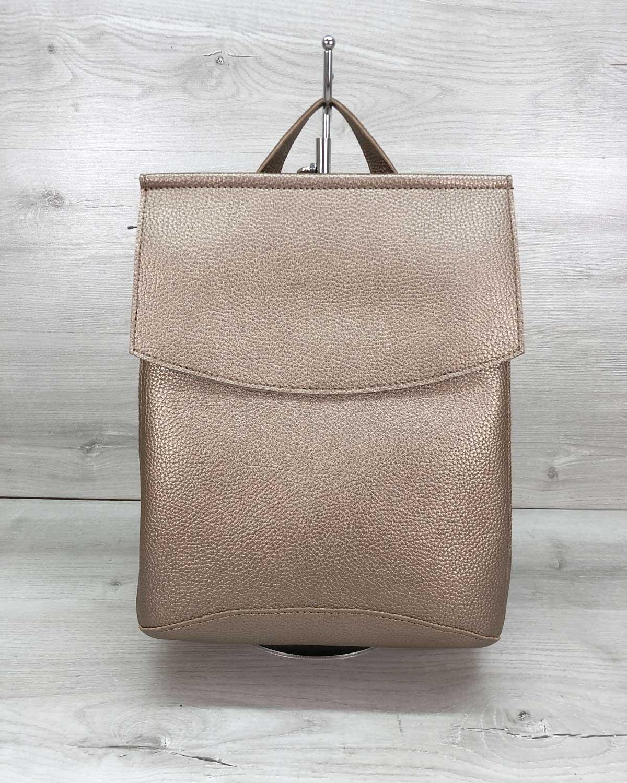 Молодежный сумка-рюкзак золотого  цвета (никель)