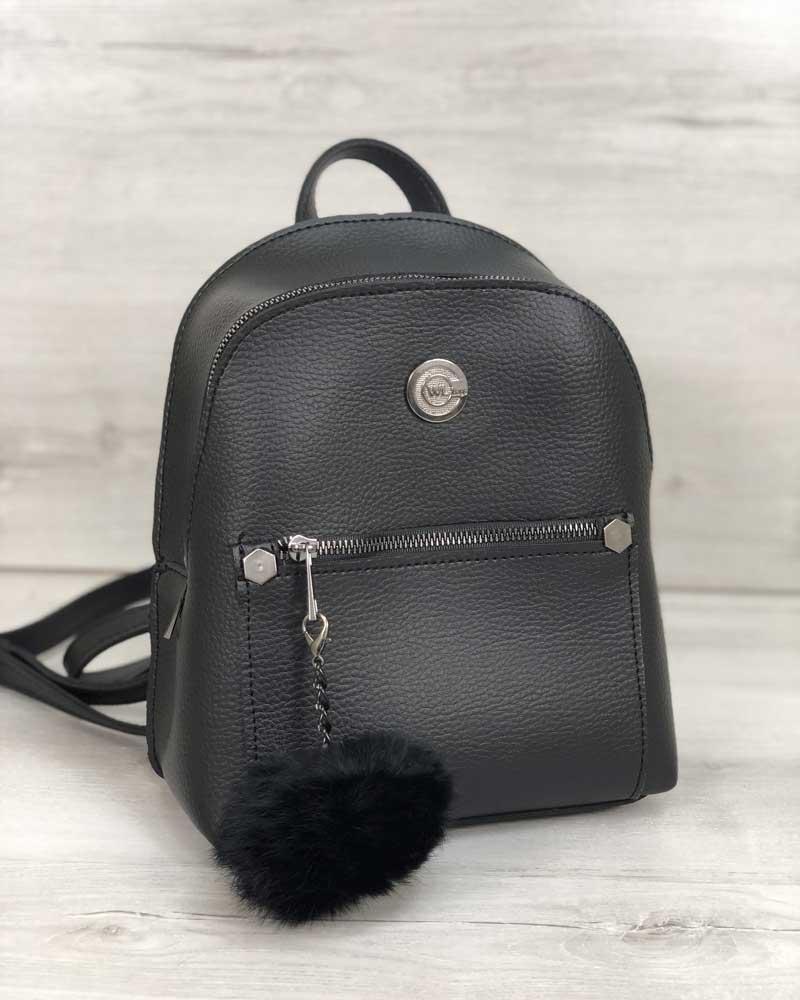 Женский рюкзак «Бонни» черный с пушком (экокожа)