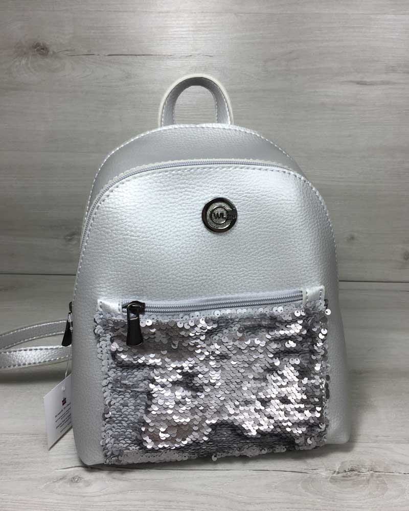 Рюкзак с пайетками «Бонни» серебряного цвета