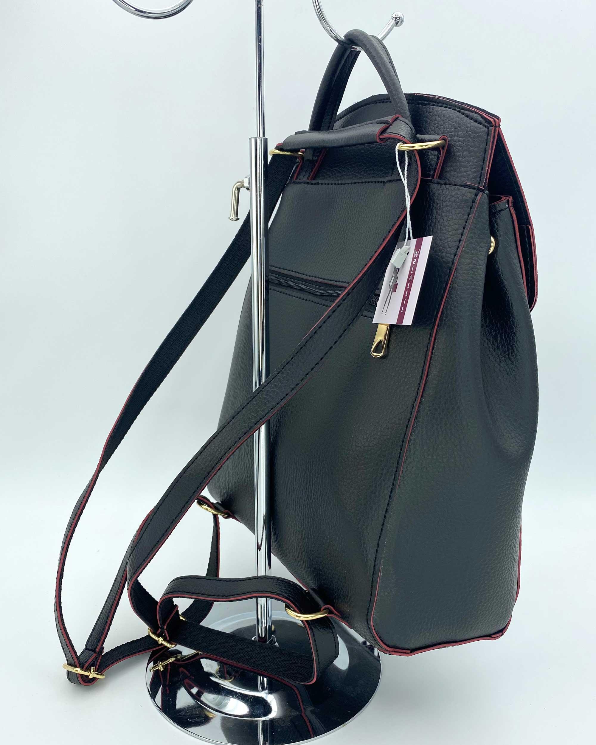 3d80824eded9 Молодежный сумка-рюкзак Сердце черного с красным цвета оптом арт ...