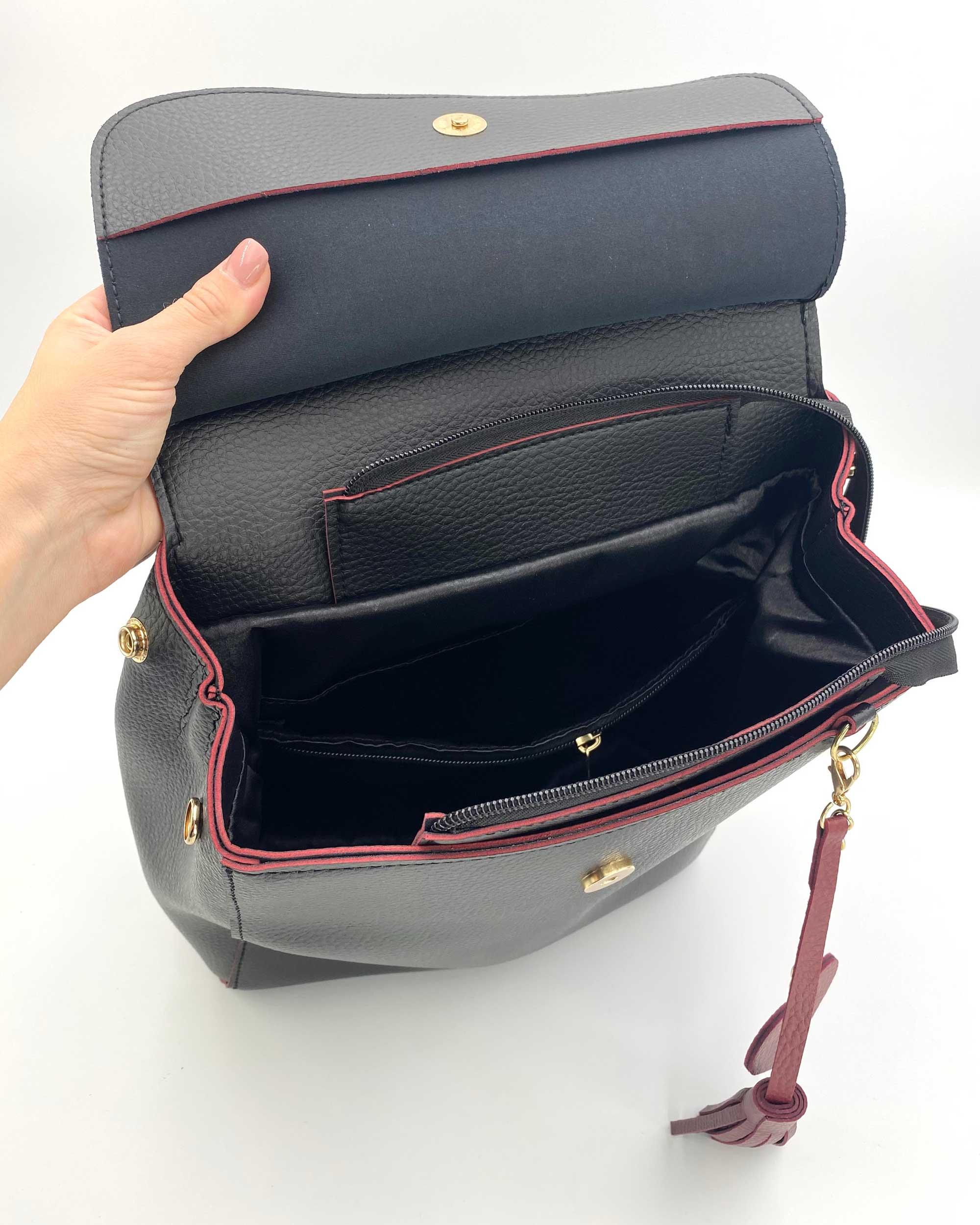 26ef67462df2 Молодежный сумка-рюкзак Сердце черного с красным цвета оптом арт ...