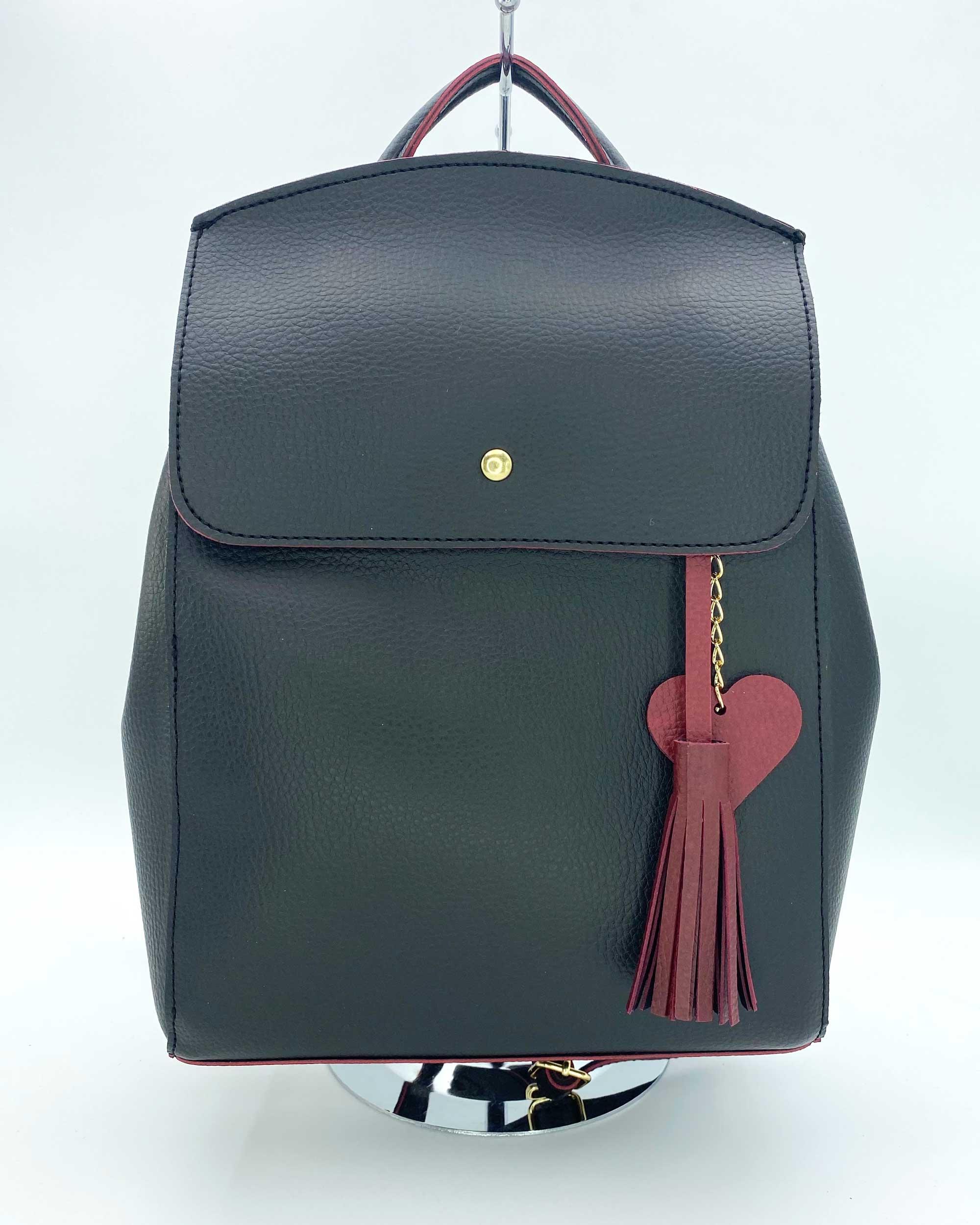 Рюкзак «Сердце» черный с красным